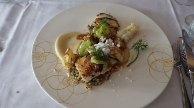 Pan-Fried Cod with Slowly with Lightly Smoked Langoustine Salad| LAVA Restaurant | Iceland