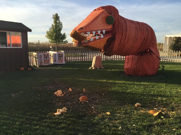 Pumpkin Eating Dinosaur | Goebbert's Pumpkin Farm